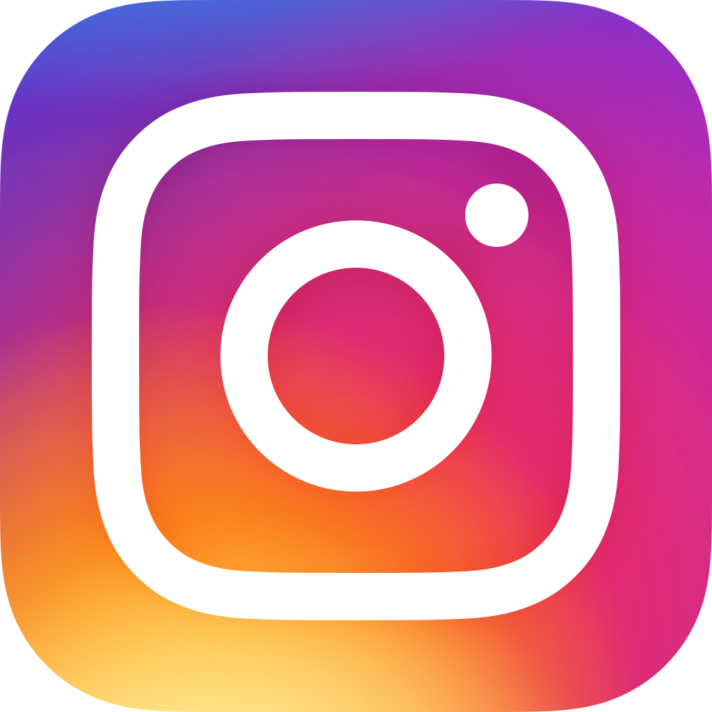 Instagram icon - white camera icon on blue, orange, and red background